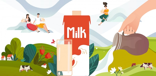Batido de leche bebida de verano en prado verde con vacas, flores y paquete de leche, jóvenes, ilustración de bebida láctea.