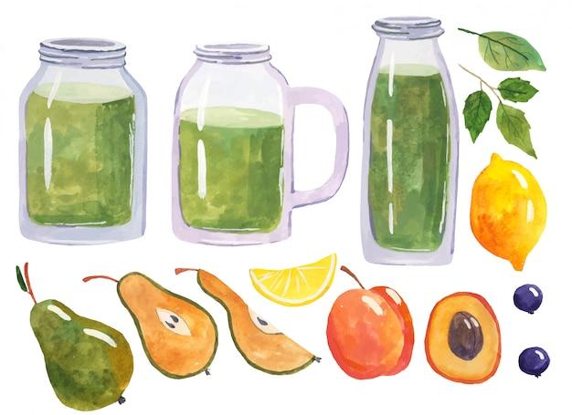 Batido verde saludable, alimentación saludable y nutrición, estilo de vida, vegano, alcalino, concepto vegetariano. batido verde con ingredientes orgánicos, vegetales