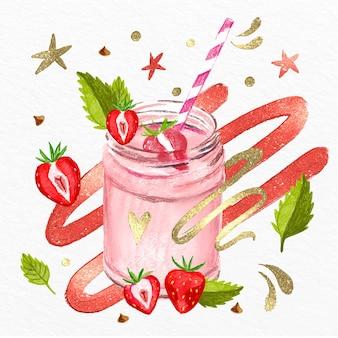 Batidos de acuarela pintados a mano en ilustración de vaso de licuadora