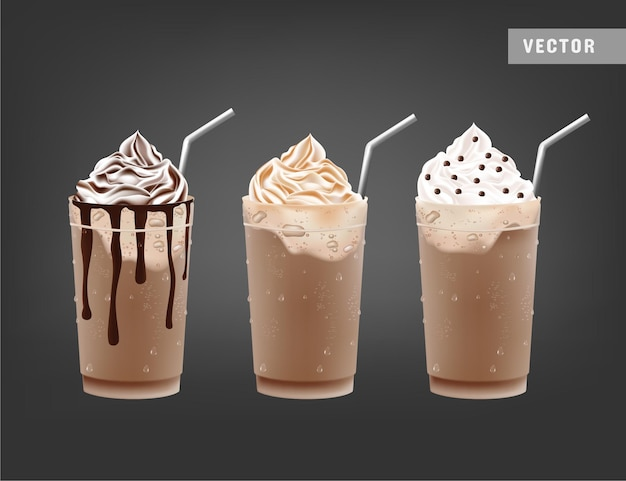 Batidos de chocolate helado realistas