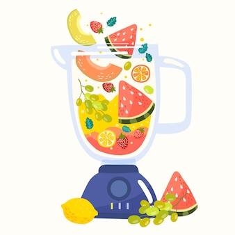 Batidos dibujados a mano en vaso de licuadora ilustración