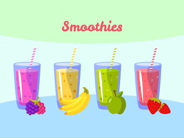 Batidos de dibujos animados. berry plátano manzana y fresa. batido de fruta orgánico