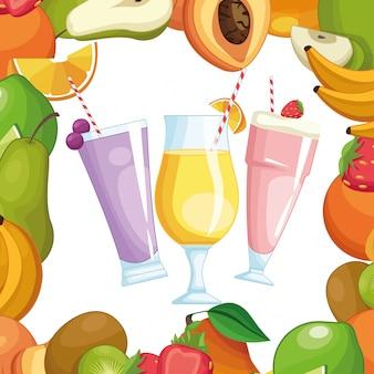 Batidos con marco de frutas.