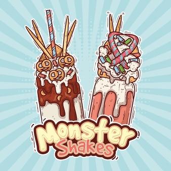 Batidos de monstruos dibujados a mano