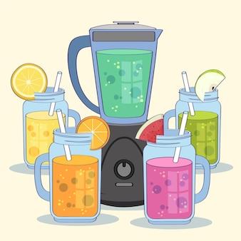 Batidos planos orgánicos en la ilustración de vaso de licuadora