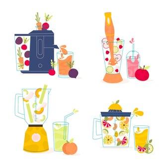 Batidos planos en vaso de licuadora ilustración