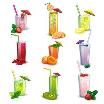 Batidos de verano bebidas conjunto de iconos planos