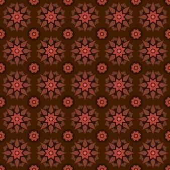 Batik clásico sin fisuras de fondo. fondo de pantalla de mandala geométrico de lujo. elegante motivo floral tradicional en color marrón.