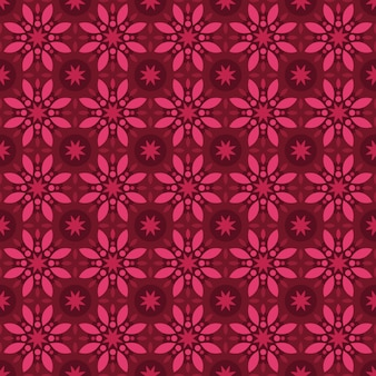 Batik clásico sin fisuras de fondo. fondo de pantalla de mandala geométrico de lujo. elegante motivo floral tradicional en color rojo granate burdeos