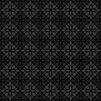 Batik clásico sin fisuras de fondo. papel tapiz geométrico de lujo. elegante motivo floral tradicional en color negro y gris.