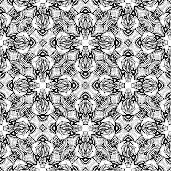 Batik indonesio en blanco y negro, batik indonesian es una técnica de tintura resistente a la cera aplicada a toda la tela