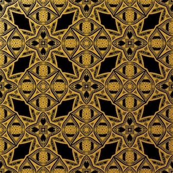 Batik de lujo de patrones sin fisuras de oro, batik indonesian es una técnica de tintura resistente a la cera aplicada a toda la tela