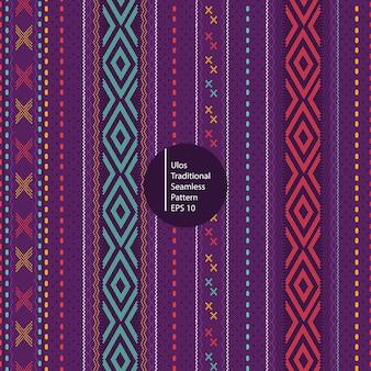 Batik tradicional de los iles del fondo colorido inconsútil del modelo de indonesia del sumatera del norte