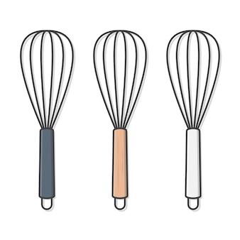 Batir plano. ilustración de batidor de huevos. utensilios de cocina para cocinar