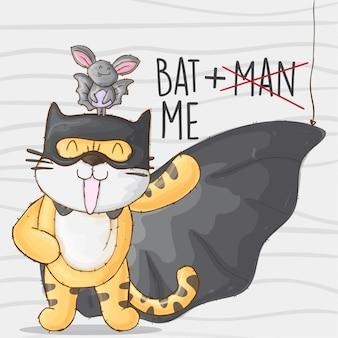 Batman tigre y murciélago. lindo tigre animal pequeño héroe