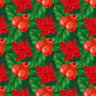 Baya de acebo deja decoración navideña vacaciones hoja verde