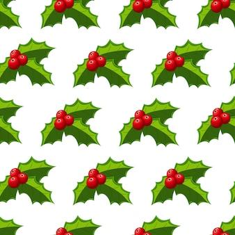 Bayas de acebo de navidad de patrones sin fisuras vector fondo de pantalla de vacaciones