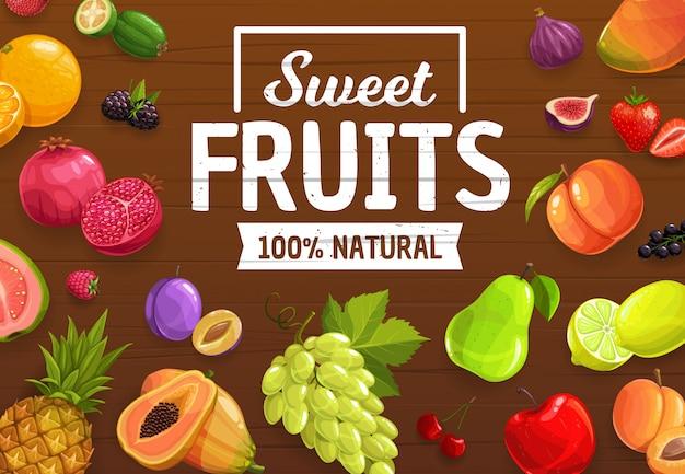 Bayas y frutas exóticas, plantilla de cosecha del mercado agrícola