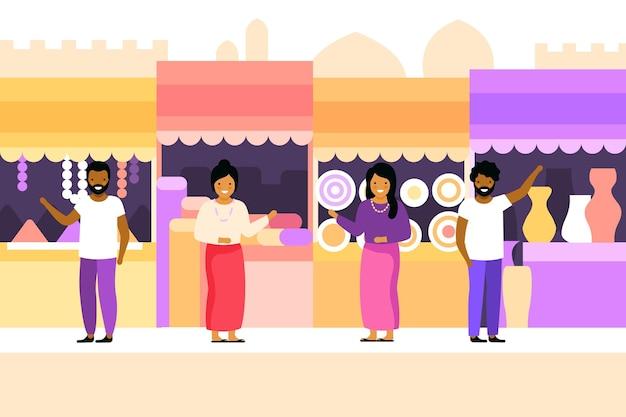 Bazar árabe con clientes y vendedores.