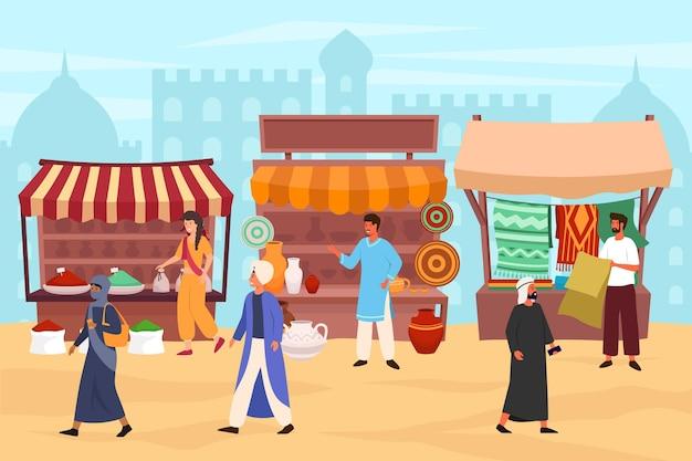 Bazar árabe donde la gente camina y compra productos.