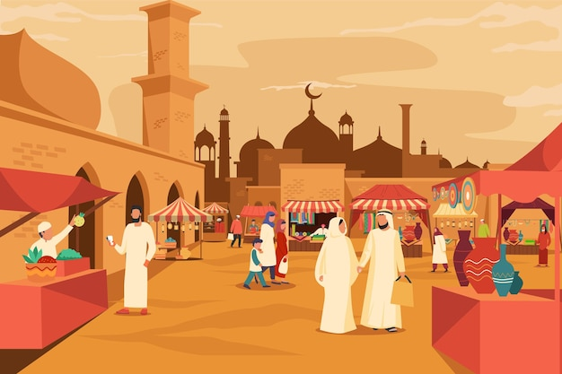 Bazar árabe con mezquita detrás del mercado