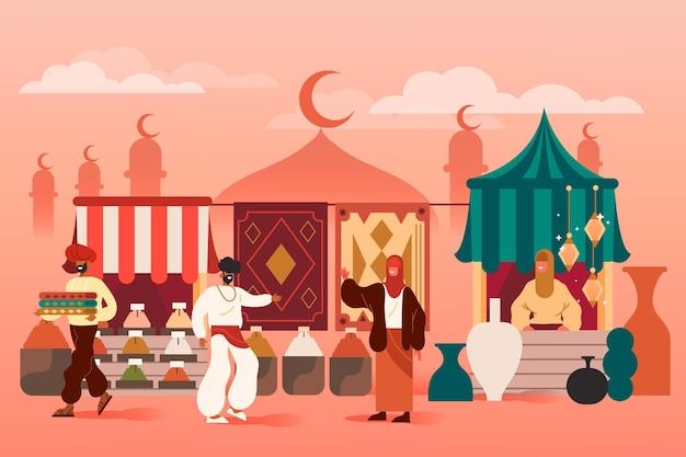 Bazar árabe con silueta de mezquita.