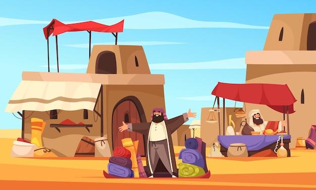 Bazar oriental al aire libre con cerámica de narguiles oriental hecha a mano en dibujos animados de la ciudad árabe
