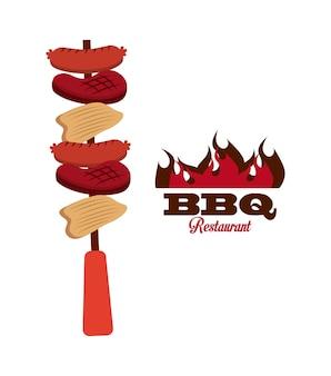 Bbq diseño de comida fresca y deliciosa