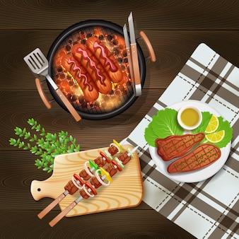 Bbq salchichas kebab y filetes cocinados a la parrilla ilustración realista