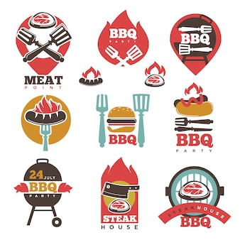 Bbq steak party house meat point signs collection