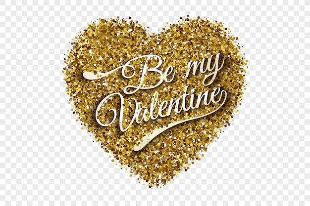 Be my valentine golden tinsel heart background