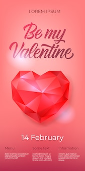 Be my valentine lettering with diamond heart