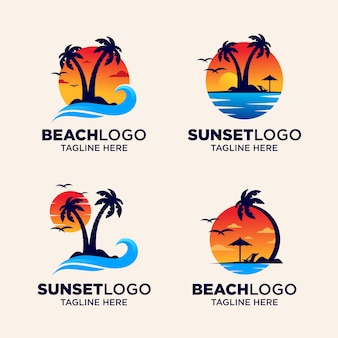 Beach sunset logo