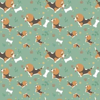 Beagle de la raza del perro de la historieta del modelo inconsútil con las patas, las hojas y los huesos.