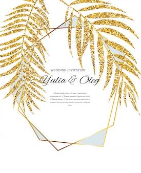 Beautifil invitación de boda con hoja de palmera silueta