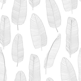 Beautifil palmera hoja silueta de patrones sin fisuras fondo vector ilustración eps10