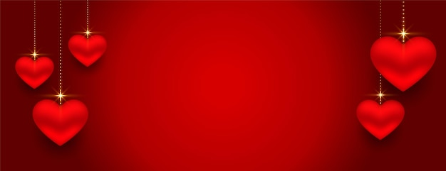 Beautifu bandera roja de corazones 3d con espacio de texto