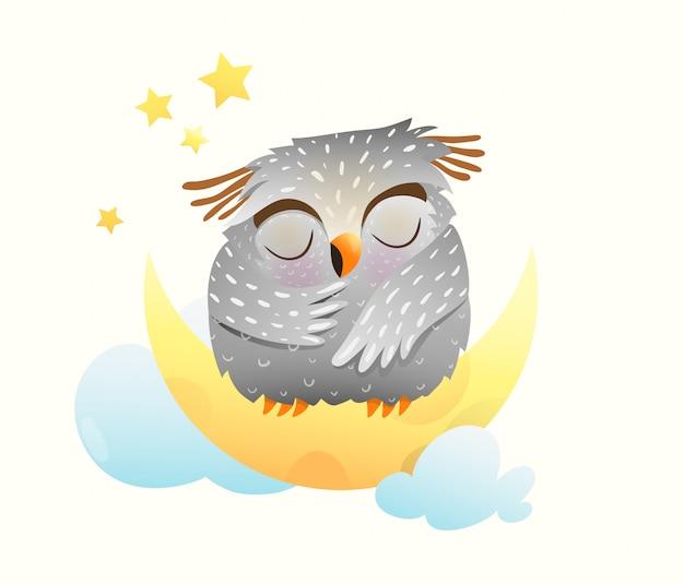 Bebé animal búho durmiendo en la noche sentado en la luna con estrellas en el cielo. lindo clipart para niños recién nacidos.