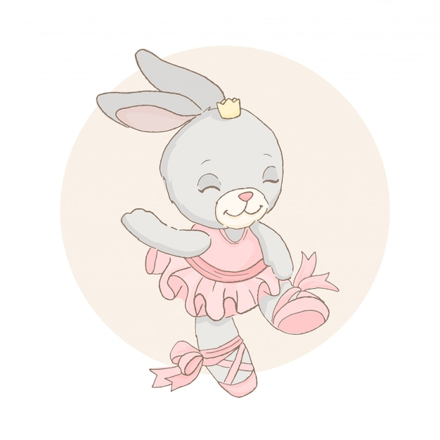 Bebé bailarina de conejo en tutú rosa