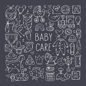 Bebé cuidado lindo dibujado a mano doodle elementos decorativos.
