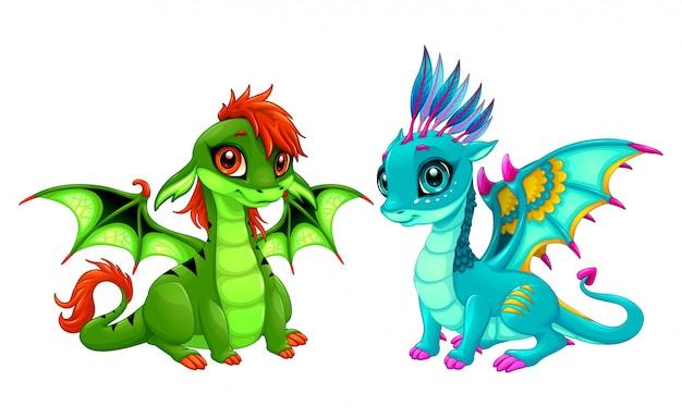Bebé dragones con lindos ojos
