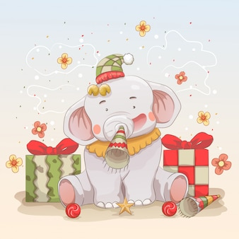 Bebé elefante celebra navidad y año nuevo