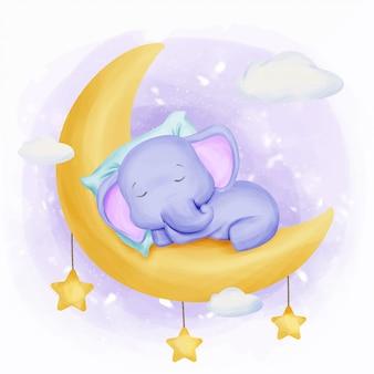 Bebé elefante dormir en la luna