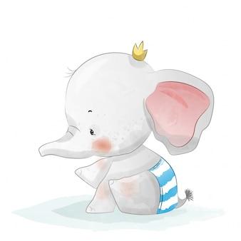 Bebé elefante en estilo acuarela.