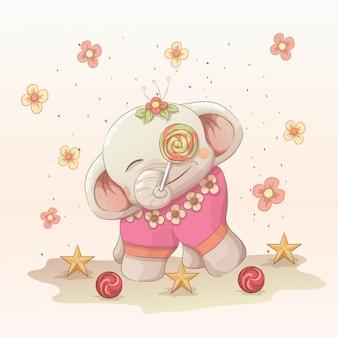 Bebé elefante feliz disfruta de la piruleta. estilo de arte dibujado a mano de vector