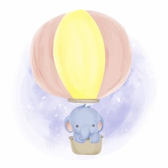 Bebé elefante y globos acuarela
