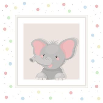 Bebé elefante. ilustración de niño lindo.