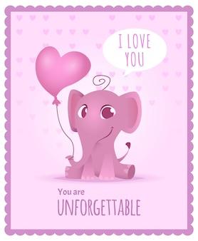 Bebé elefante, invitación para niños con lindo y divertido adorable pequeño elefante africano tarjeta o cartel