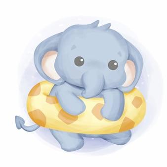 Bebé elefante nadando con flotador