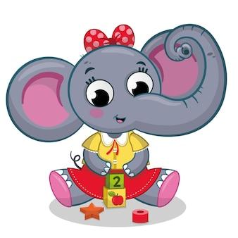 Bebé elefante niña jugando con juguetes ilustración vectorial